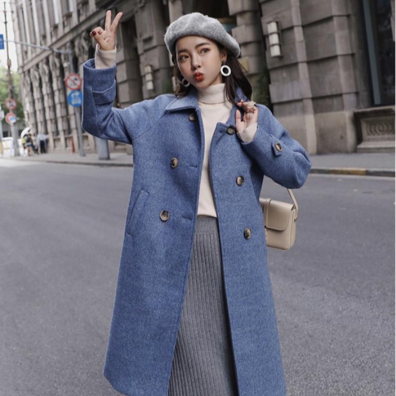 Modis Coréenne Manches Manteaux Vert Femmes Plus Laine Bleu Élégante De rose Outwear Automne Col down Bleu Rose Pleine Turn Long La vert Mode Manteau Taille 1x7qHz