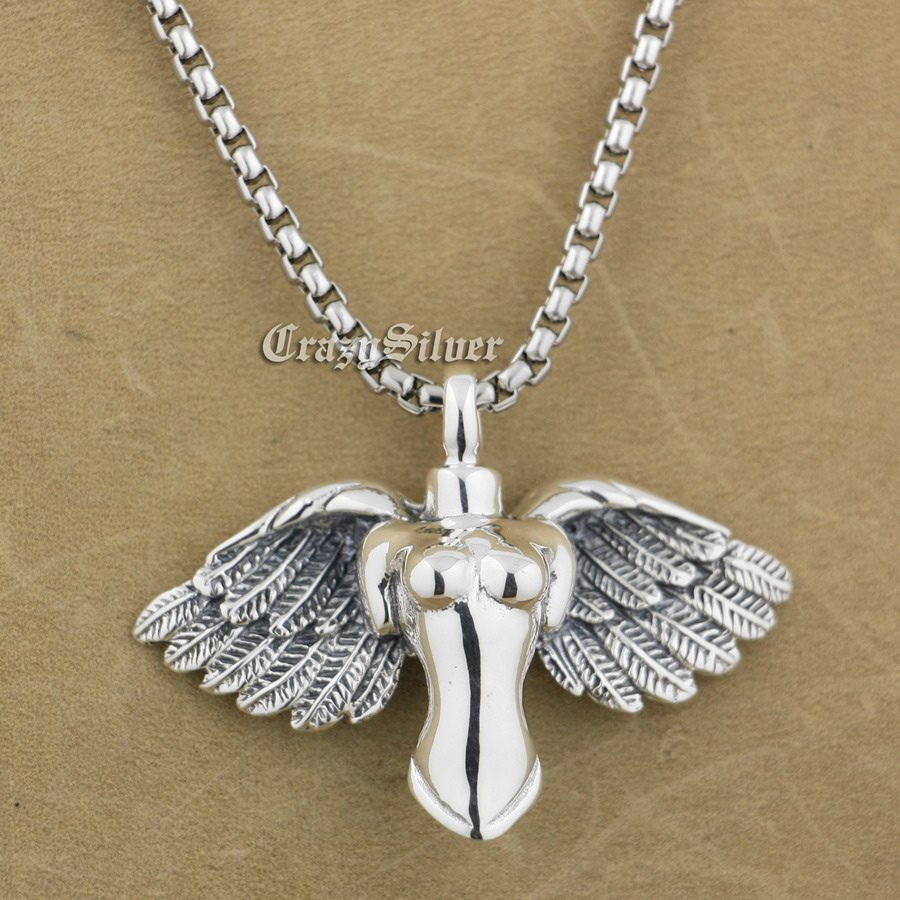 925 Sterling Silver Naked Angel Mens Biker Pendant 9S001 Stainless Steel Necklace 24 inch925 Sterling Silver Naked Angel Mens Biker Pendant 9S001 Stainless Steel Necklace 24 inch