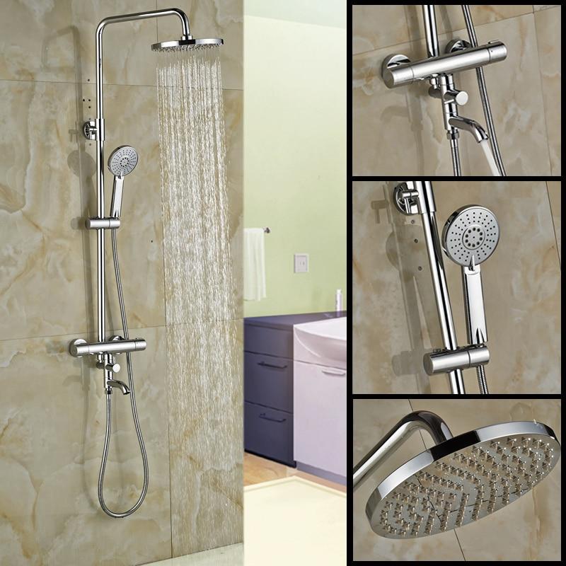 Chrome Dual Handle Shower Faucet Temperature Control Shower Mixer Taps 8  Rain Showerhead Thermostatic Mixer Valve