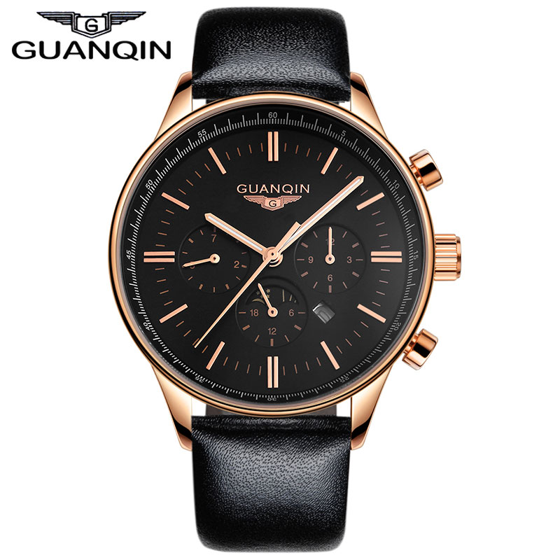 ФОТО 2015 new GUANQIN mens watch large dial quartz watch multifunctional watches genuine leather mens watch luminous