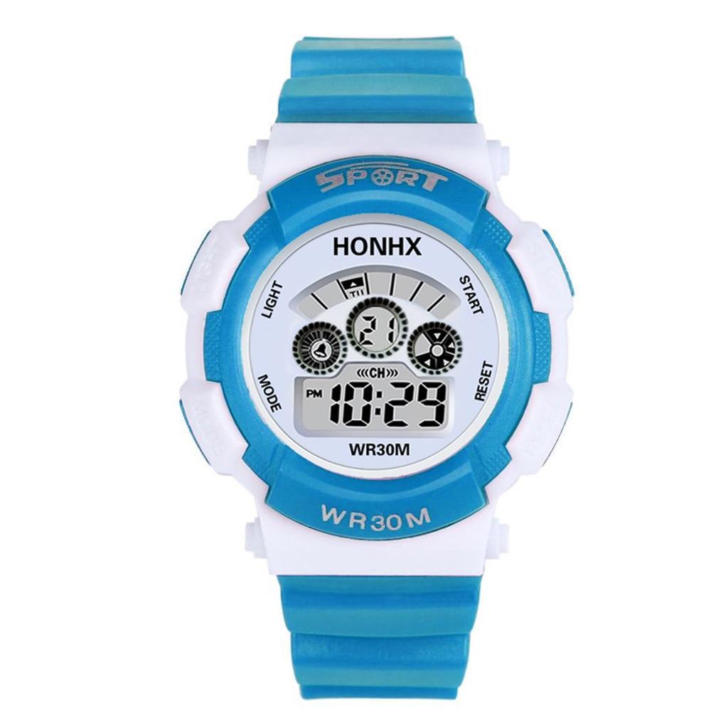 Wrist-Watch Digital Sports Electronic Child Fashion Alarm Date Rubber LED Analog-Quartz