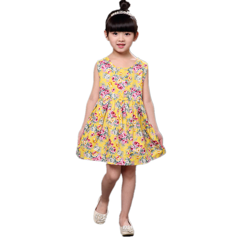 2017 Cotton Summer Girls Dress Sleeveless Flower Kids Clothes O-Neck Children Clothing Princess Next Vestidos Casual Baby Dress little j summer girls dress kids sleeveless strawberry printed princess dress cotton vestidos children clothes bowknot dress