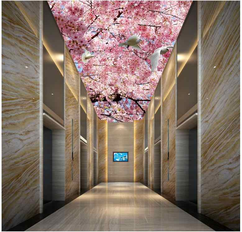 Sob encomenda da foto papel de parede grande 3D Estéreo Sonho romântico flor de pêssego Pombo Casa Decoração Do Teto parded papel