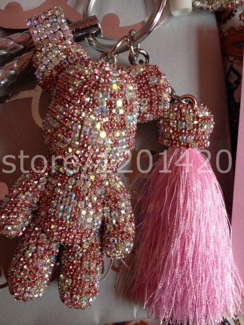Розовый blingbling кристалл медведь блестящие брелок щепка кожаные ремешки брелок розовый кисточкой брелки женская мода автомобиль аксессуар
