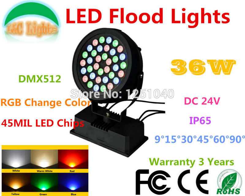 цены Factory Direct Sales DMX512 Control 36W LED Flood Lights DC 24V RGB Change Color Outdoor Spotlights LED Landscape Lighting CE