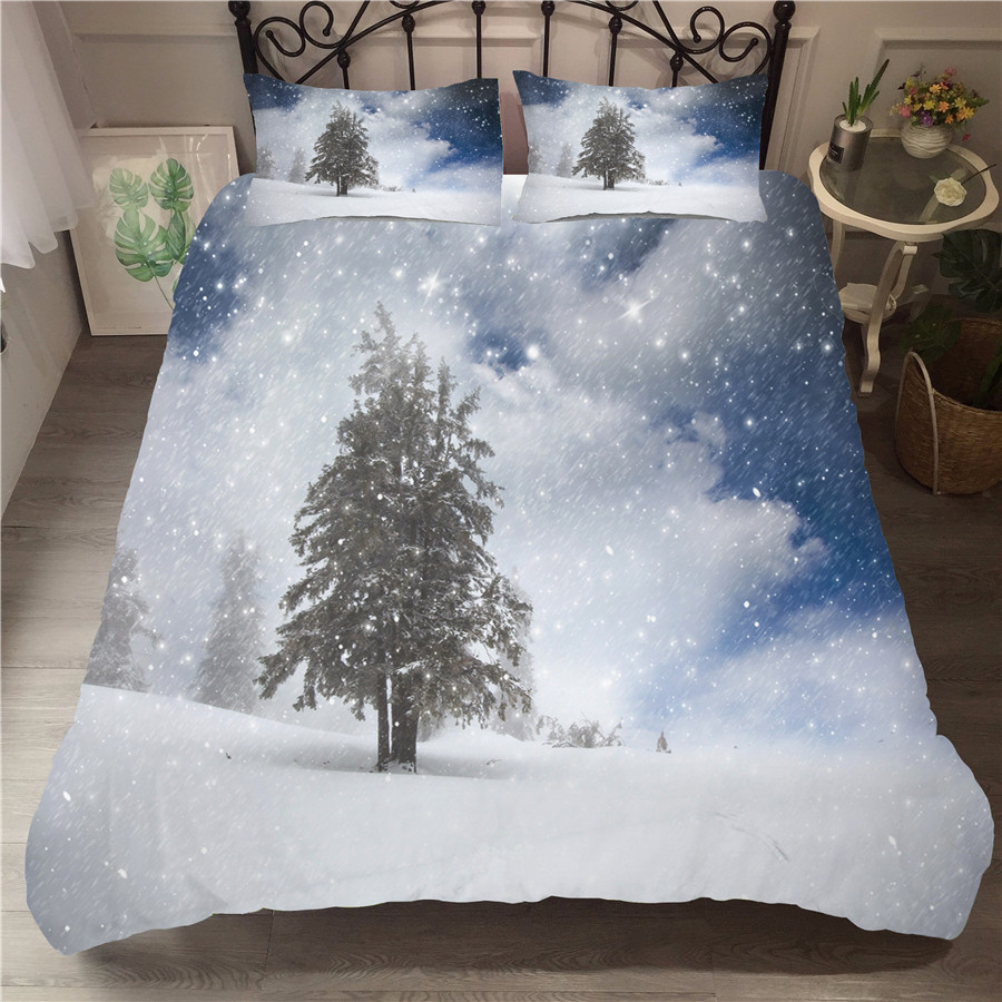 A Bedding Set 3D Printed Duvet Cover Bed Set Snow Scene Home Textiles for Adults Bedclothes with Pillowcase XUE05 in Bedding Sets from Home Garden