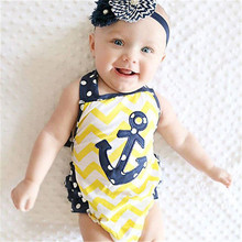 Newborn Baby Girl Summer Clothes Anchors Halterneck Romper Playsuit Jumpsuit Set