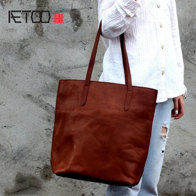 Aetoo Simple Design Bag Head Cowhide Handbags Wild Horse Leather Shoulder Tote