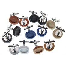 10pcs 12mm Round Wood Cufflink Setting Blank Base Cufflinks Cabochon Cameo Tray DIY Cufflink Clothes Accessories Z1129