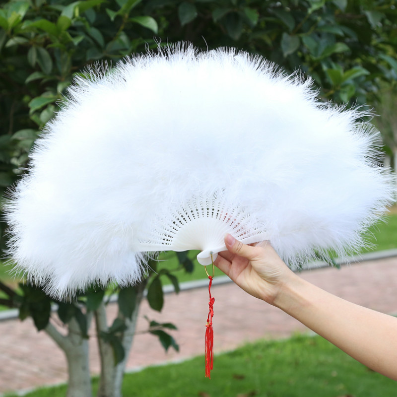 Chinese Style Classical Nostalgia Feather Hand Fan Cheongsam Catwalk Feather Fan Adult/Children Peacock Dance Fan Abanico