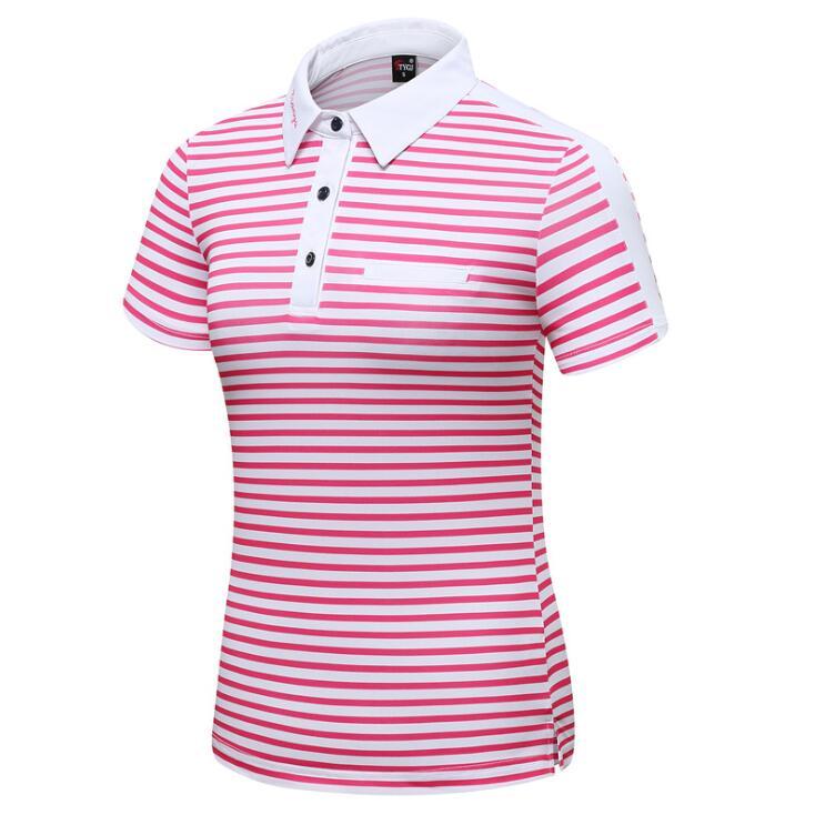 2019 femmes printemps été golf vêtements rayé à manches courtes T-shirt femme arc décoration respirant séchage rapide Sportswear haut
