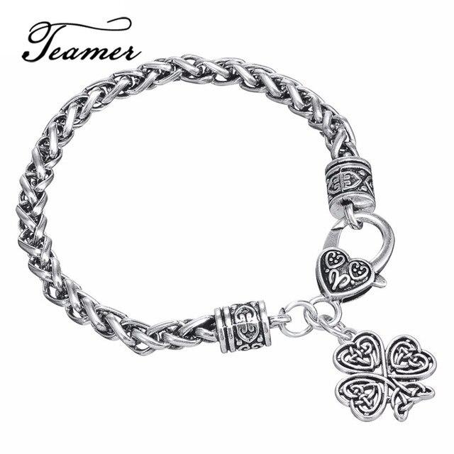 be09647355c6 € 2.69 |Jamieheaslip de Restro corazón nudo cuatro de hoja de trébol  pulsera de buena suerte Wicca talismán para hombre/de la joyería de la ...