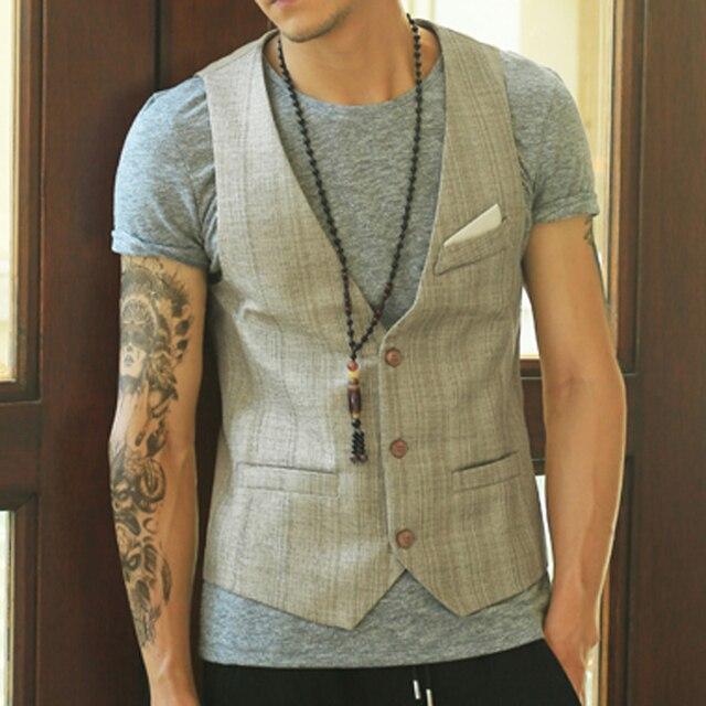 Solid Men Suit Vest Linen Slim Fit Fashion Designer Brand Formal Business Dress Vest men Party Wedding Waistcoat 2016 New