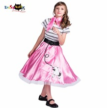 80s Retro Striped Shirt Satin Dress Girls Lovely Dog Printed Poodle Skirt  Halloween Costume Kids Carnival 2c29e66a7958