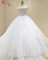 Jark Tozr Vestido De Noiva Beading Pearls Boat Neck Lace Up Back Bridal Dress White Appliques