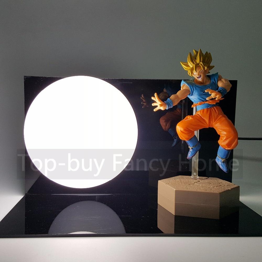 все цены на  Dragon Ball Z Action Figures Model Toys DXF Son Goku Kamehameha DIY Dragonball Esferas Del Dragon DBZ+Bulb+Base  онлайн