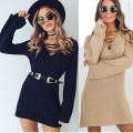 Women Winter Knitted Sweater Deep V Neck Bandage Long Sweater Casual Flare Long Sleeve Lace Vintage Vestido Sweater EBA125