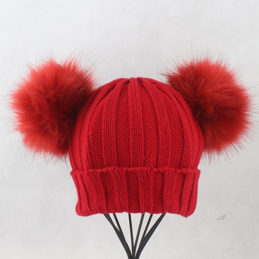 [Lakysilk] 100% Cotton Cute Child Beanie With 2 Pompoms Winter Warm Girls Knitted Hat Kawaii Soft Unisex Solid Beanies For Boy
