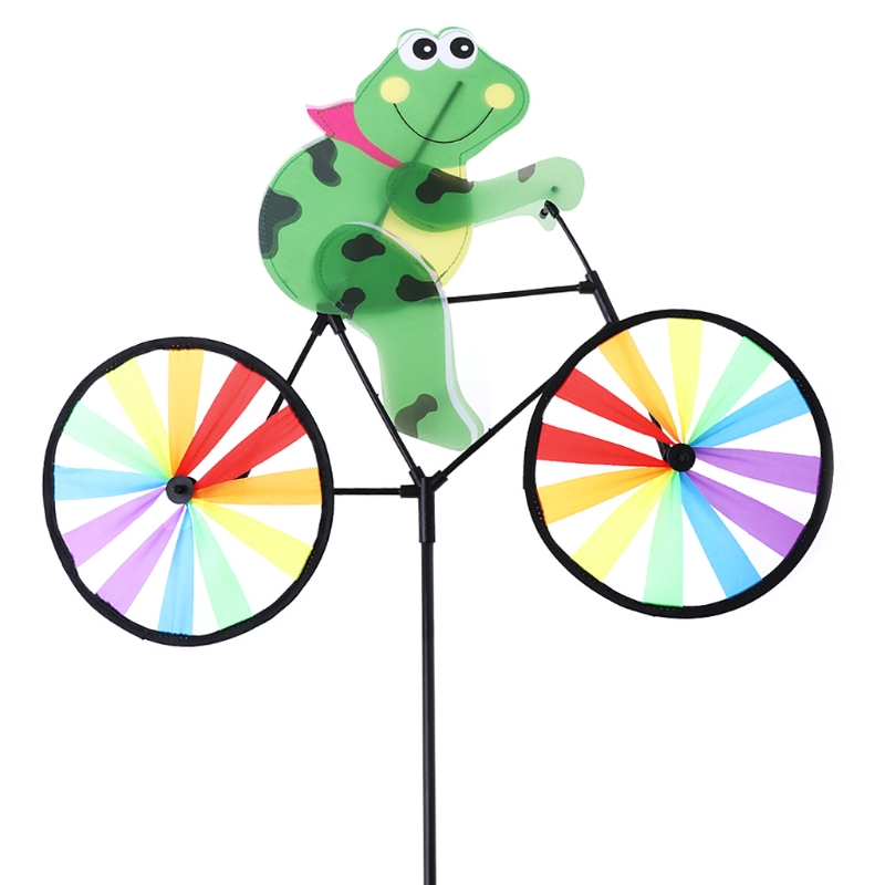 HBB Cute 3D Frog on Bike Windmill Whirligig Garden Lawn Yard Decor Wind Spinner