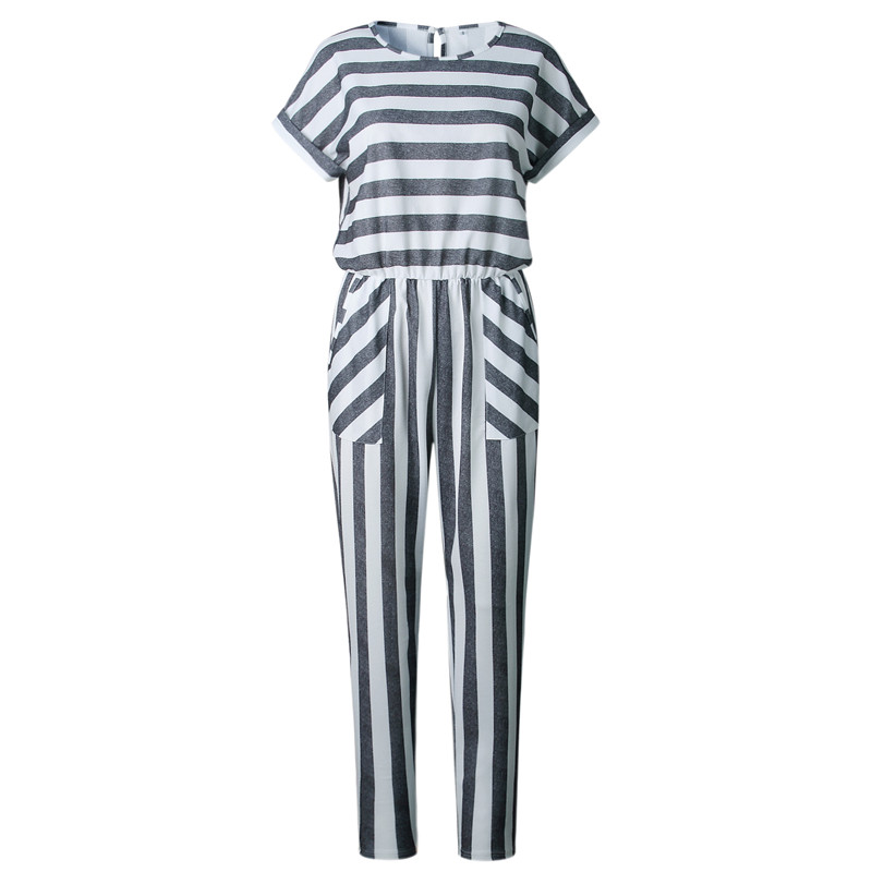 2018 Women's Sleeveless Striped Jumpsuit Casual Loose Trousers Fashionable Leotard  Wide Leg Pants