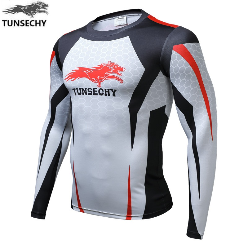 TUNSECHY Brand Digital Printing T-shirt Hot New Winter Wolf Man Compression Quick-drying Long-sleeved Round Collar T-shirt
