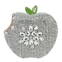 Lasc silber grün apple form handtaschen luxus kristall kupplung abendtaschen frauen prom taschen party geldbörse damen kupplungen sc146