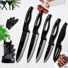 XYj 3,4,5,6 inch Ceramic Knife Non Slip Handle Kitchen Knives + Acrylic Knife Stand + Peeler Total 6pcs Set Best Cooking Tools
