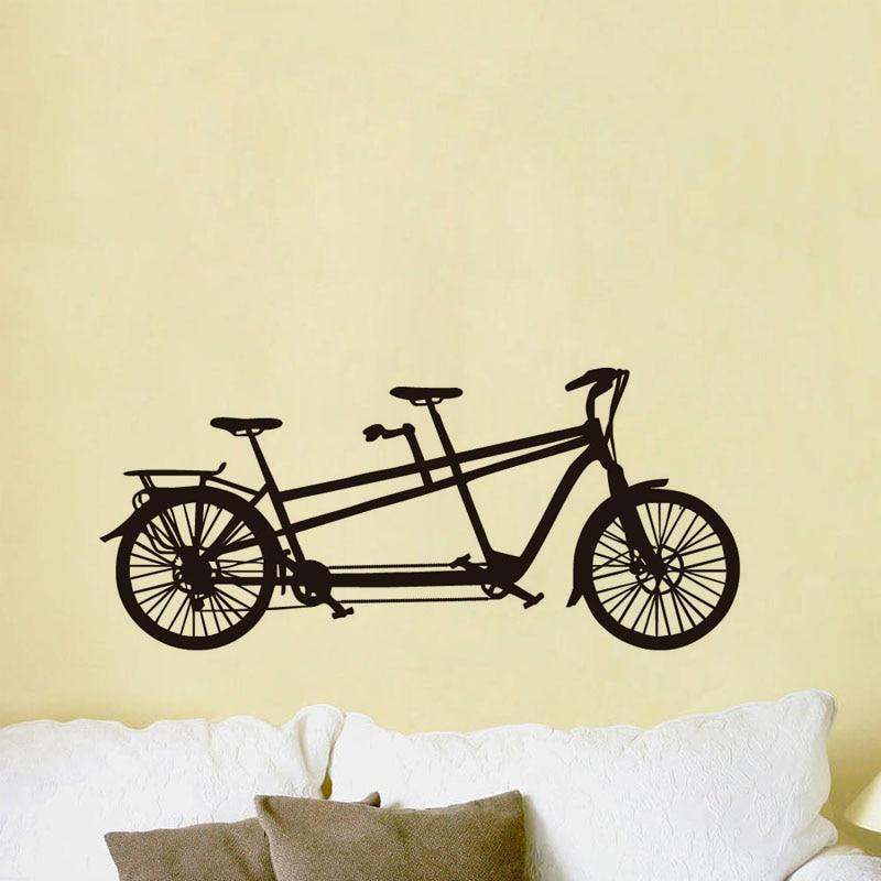 Romantic Tandem Bike Vinyl Wall Sticker Sweet Bycycle Art Decals ...