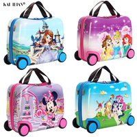 Trolley Luggage travel suitcase on Wheels child's Ride on the suitcase kid Rolling Suitcase For boy Cases For girls cartton bags