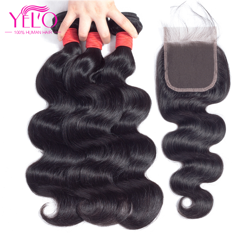 YELO Hair Peruvian Body Wave 3 Bundles With Closure 4Pcs / Lot Human - Menneskelig hår (for svart)