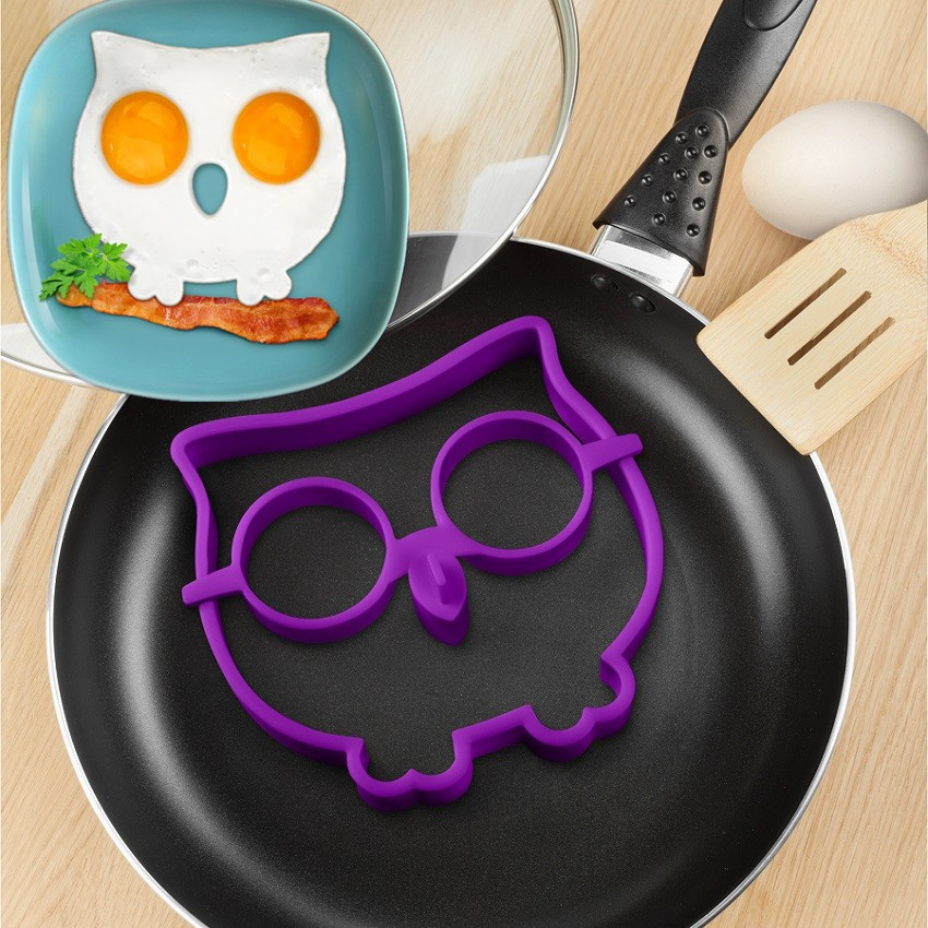 1PC Aksesori Dapur Alat Memasak Silicone Owl Fried Egg Mold Cincin Telur Shaped Gift Novelty Color Purple