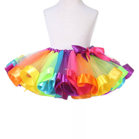 Girls Rainbow Tutu Dance Layered Skirt Rave Halloween Party Ballet Princess Dress Colorful