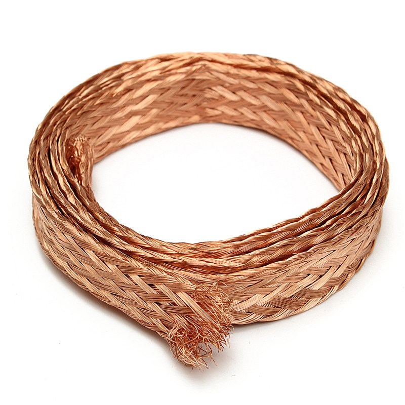 1m (3.3ft) 11mm Flat Copper Braid cable Bare Copper Braid Wire Ground Lead Pure Copper Coppery Best Promotion  1m 15mm flat tinned copper braid sleeve screening tubular cable diy