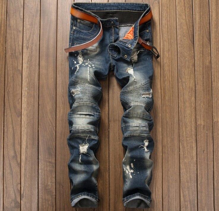 European American Style fashion brand luxury Men denim trousers zipper Slim jeans Straight mens Patchwork hole blue jeans pants