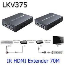LKV375 Настоящее 4 К * 2 К 3D 1080 P Hdbaset HDMI Extender По Одной кошка Кабель До 70 м Расширяет HDMI Remot ИК Повторитель Cat5e/Cat6/Кошка