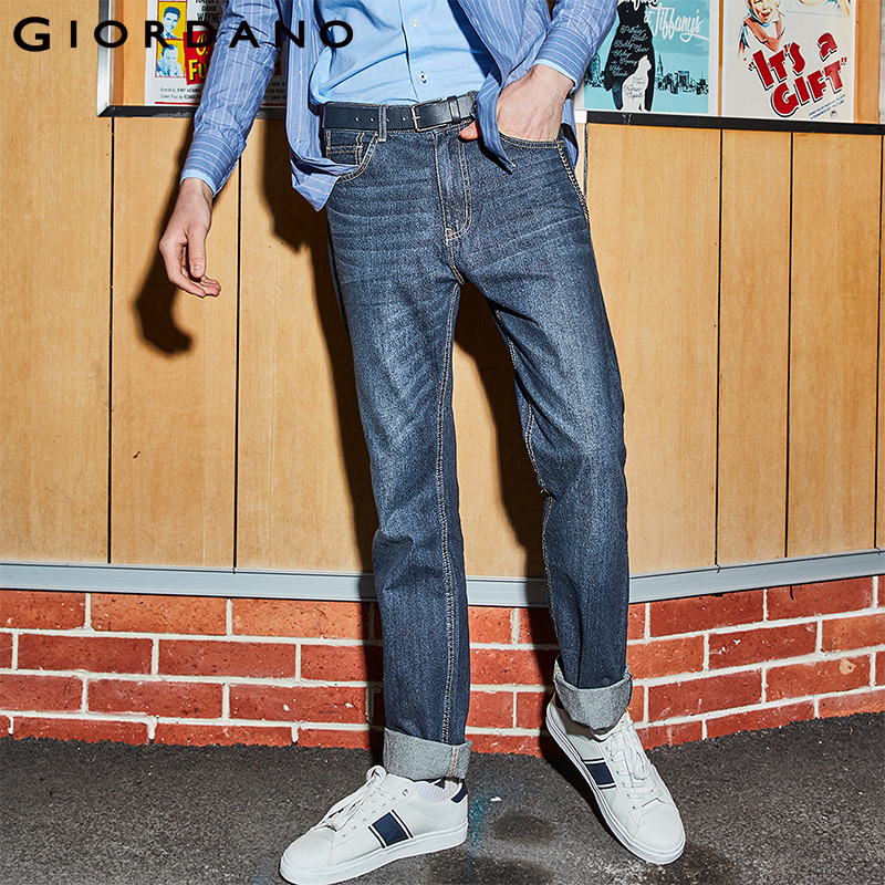 Giordano Men   Jeans   Denim   Jeans   Elastic Mid Rise Narrow Feet Quality Cotton Denim   Jeans   Pantalones Whiskering Denim Clothing