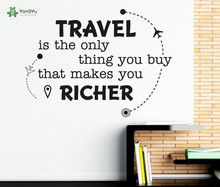 YOYOYU Wall Decal Vinyl Art Removeable Decoration Travel Is The Only Thing Quote DIY Decor Mural YO424