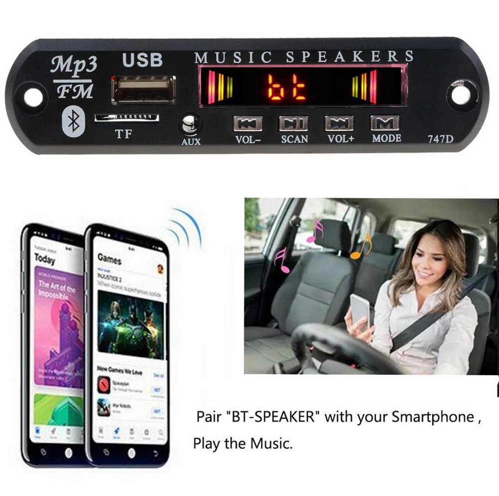 Auto Bluetooth Fm Radio Draadloze Mp3 Speler Handsfree Met Mic Tf Usb 3.5 Mm Aux 5V 12V Auto audio Modificatie Kit Voor Luidsprekers