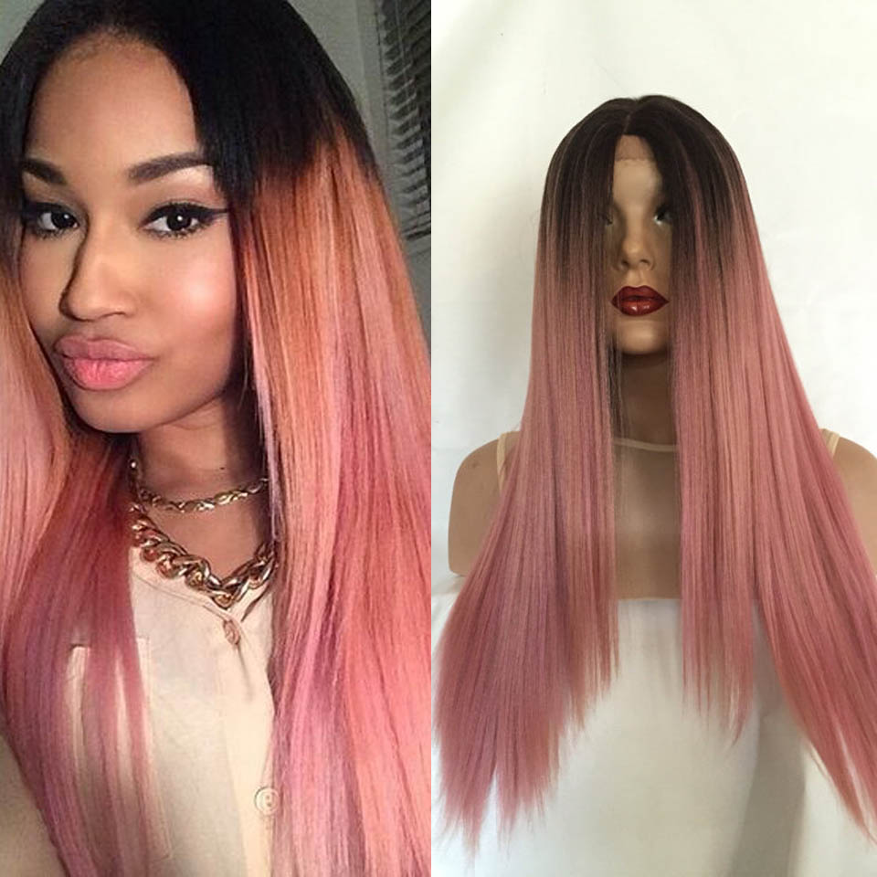 ombre pink lace front wig synthetic lace front wig for white women long ombre dark roots pink. Black Bedroom Furniture Sets. Home Design Ideas
