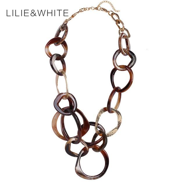 Acrylic Necklace Circle Pendant Necklace  Imitation Jewelry Women Choker Necklace Gypsy Jewelry