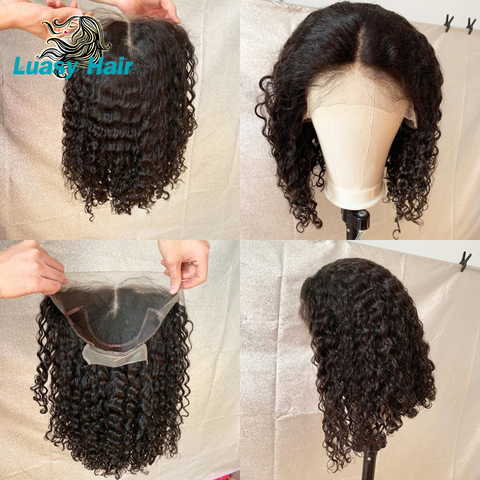 Luasy Jerry Curly Lace Front Human Hair Wigs With Baby Hair Brazilian Remy Hair Short Curly Bob Wigs For Black Women Pre Plucke