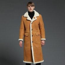 db52d4ab108 Пальто с мехом мужские из овчины пальто из натуральной кожи Тренч Верхняя  одежда из натуральной кожи