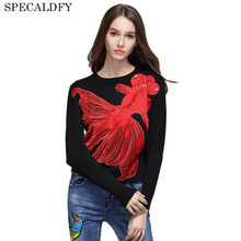 Luxury Brand Designer Runway Sweater 2018 Autumn Winter Fashion Women Sweaters And Pullovers Fish Embroidery Jumper Knitwear(China)