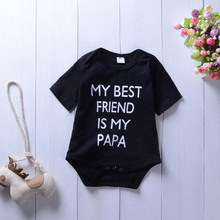 Roupas de Bebê infantis Meu Amigo Meu Papa Imprimir Romper Moda Preto Macacão Bebe Roupas Miúdo