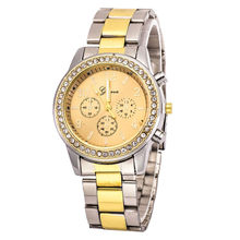Lovesky Relojes mujer Relogio feminino Luxury Faux Chronograph Quartz Classic Round Women Crystals Watch Gold & Silver(China)