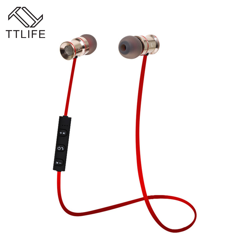 TTLIFE 2017 Magnet Metal Sports Bluetooth Earphones Stereo Wireless Earbuds Headset With Mic for iPhone 7 xiaomi Mobile Phones