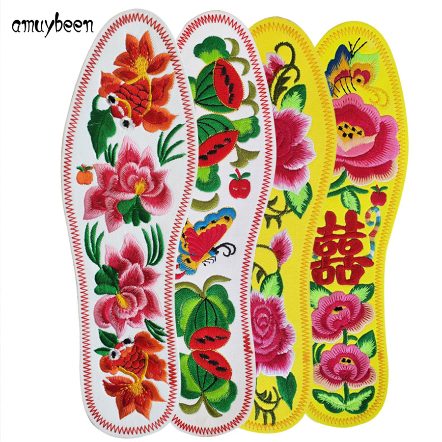 New Embroidered Flowers Insoles for Feet Women Men Shoe Insoles Pad Sports Breathable Cotton Sweat-Absorbant Fashion Insoles