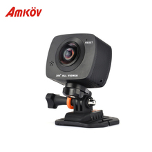 """Amkov 200 S 360 градусов панорамный двойные линзы Камера Профессиональное видео Камера цифровой HD 0.96 """"ЖК-дисплей 8MP HD VR Фото Видео Камера"""
