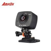 Amkov 200 S 360 градусов панорамный двойные линзы Камера Профессиональное видео Камера цифровой HD 0.96 ''ЖК дисплей 8MP HD VR фото Видео Камера