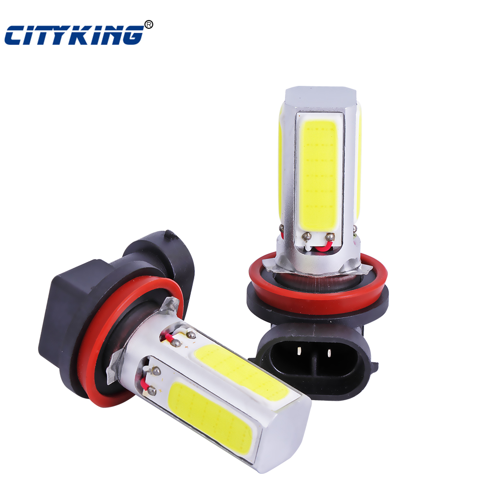 Free Shipping 2 X COB LED Lamp H11 H8 h7 h4 h16 COB DRL Day Driving Head Light Fog Bulb White Car Super Bright cob 20w led super bright h7 8 led white car vehicle bulb fog driving daytime light lamp 12v free shipping